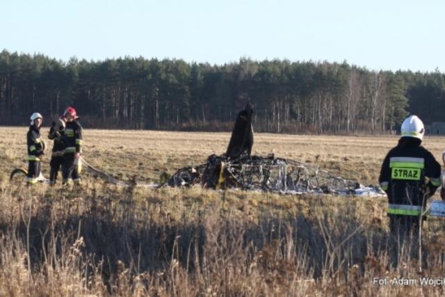 Wypadek samolotu w Zegrzu Pomorskim pod Koszalinem.