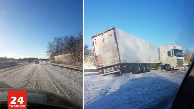 Trudne warunki drogowe na autostradzie A11 Kołbaskowo-Berlin.