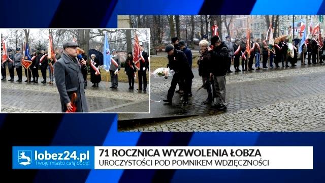 71 Rocznica Wyzwolenia Łobza - Uroczystości pod Pomnikiem Wdzięczności.