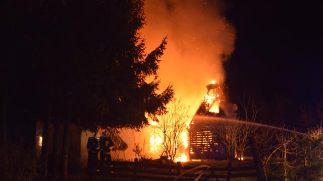 Pożar domków letniskowych w Starej Dobrzycy