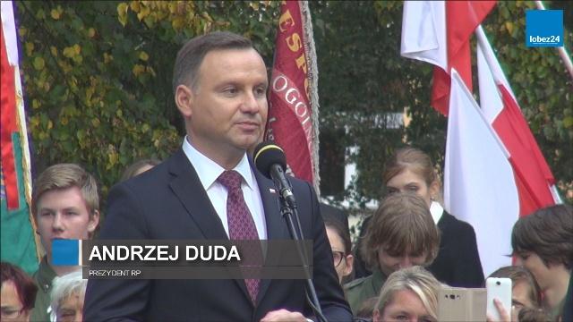 Wizyta Prezydenta RP Andrzeja Dudy w Łobzie - Przemówienie Prezydenta