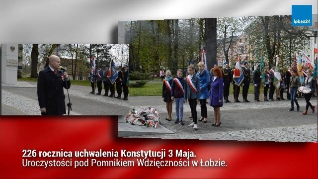 226 rocznica uchwalenia Konstytucji 3 Maja. Uroczystości pod Pomnikiem Wdzięczności w Łobzie.