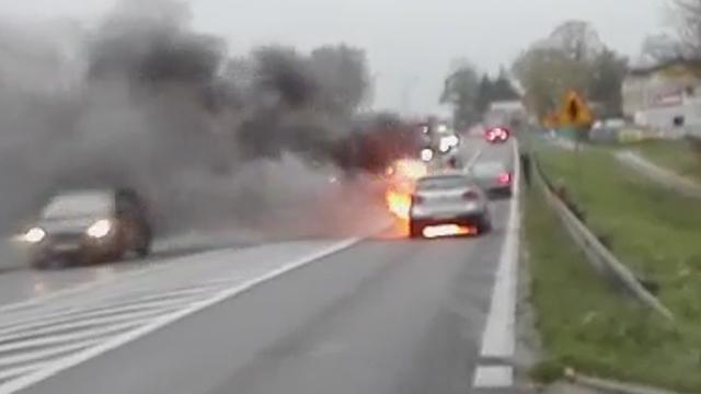 Stare Bielice: Pożar samochodu