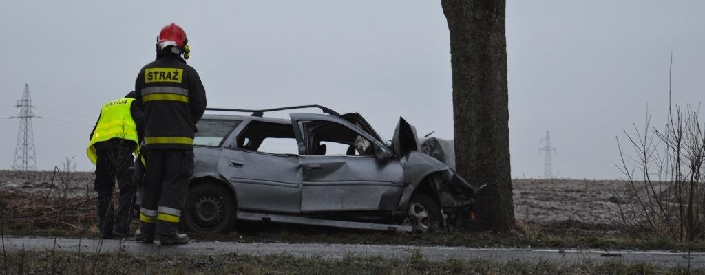 Wypadek pod Łobzem. Auto uderzyło w drzewo.