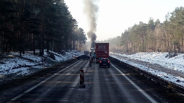 Pożar tira pod Szczecinem