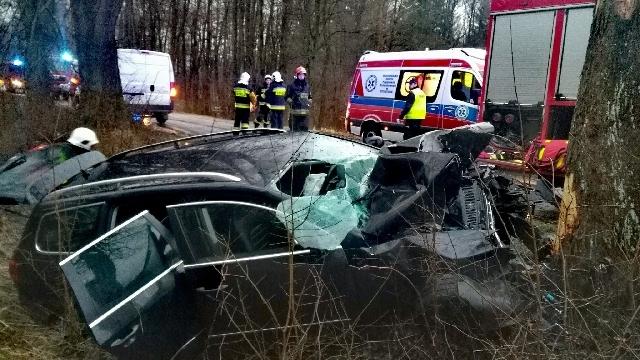 Wypadek niedaleko Karlina. Auto uderzyło w drzewo.