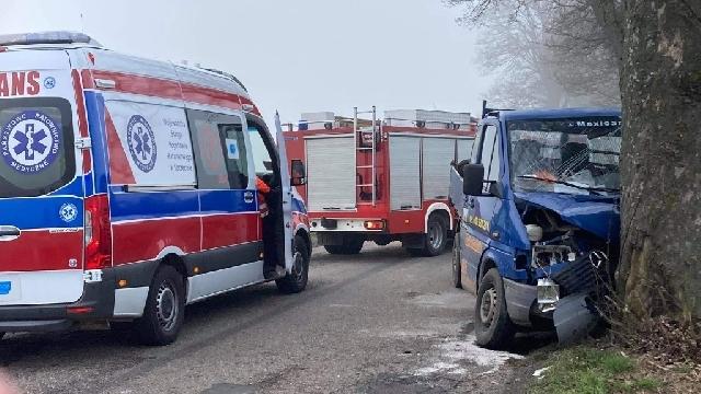 [DW-162] Świdwin. Samochód dostawczy uderzył w drzewo. Trzy osoby poszkodowane, w tym dwójka dzieci