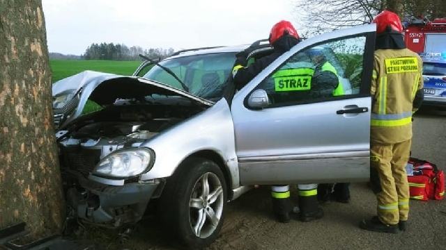 Świdwin. Samochód osobowy uderzył w drzewo pomiędzy Bierzwnicą a Krasną.