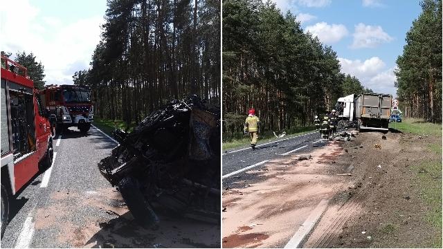 Gryfino. Zderzenie ciężarówki i busa.  Jedna osoba zginęła na miejscu