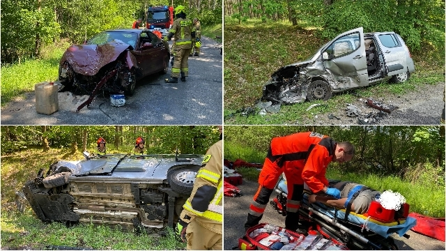 [DW-105] Złocieniec. Trzy pojazdy, zderzenie, dachowanie, poszkodowane dzieci i kierowca na podwójnym gazie