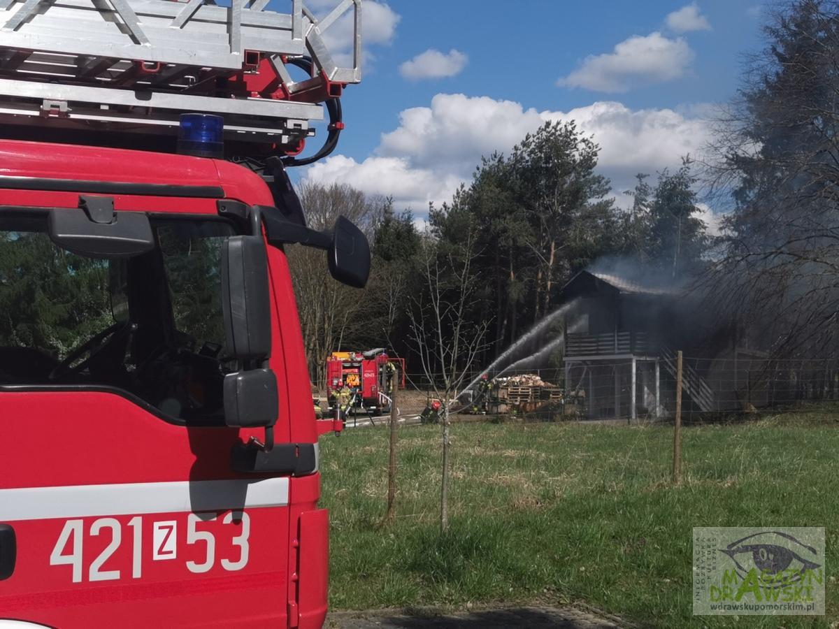 Pożar domku w Drawsku