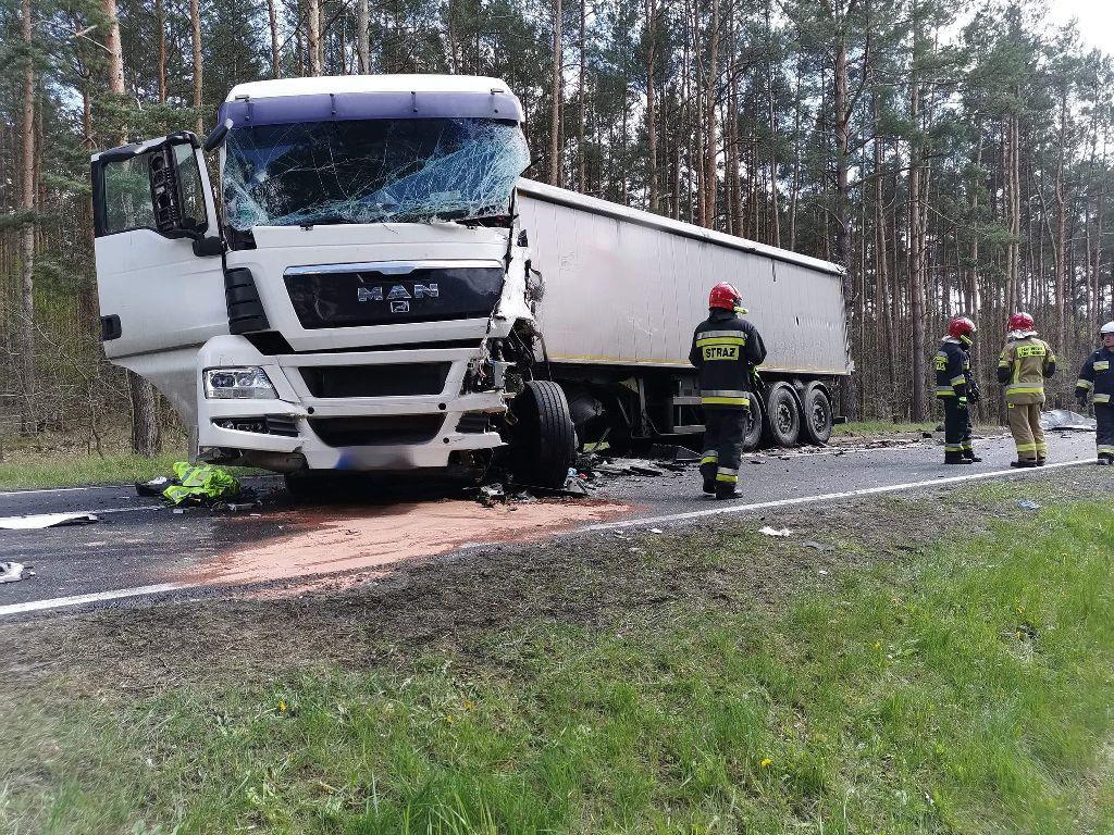 Gryfino. Zderzenie dwóch ciężarówek. Jedna osoba zginęła na miejscu