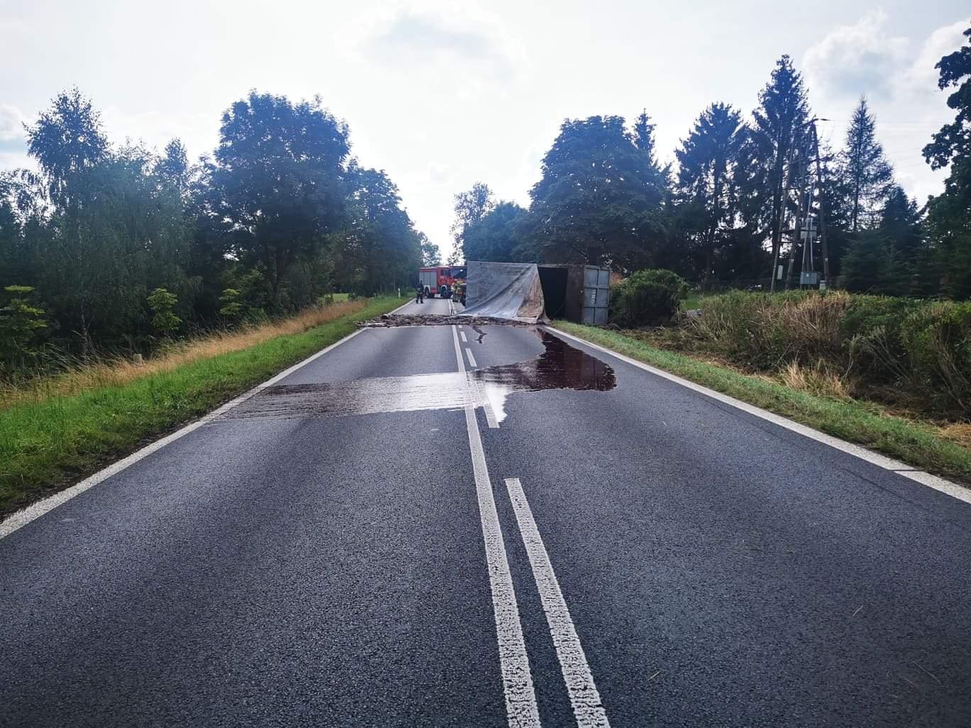 Połczyn Zdrój. Odpady zwierzęce z ubojni na drodze. Kierowca ciężarówki pod wpływem